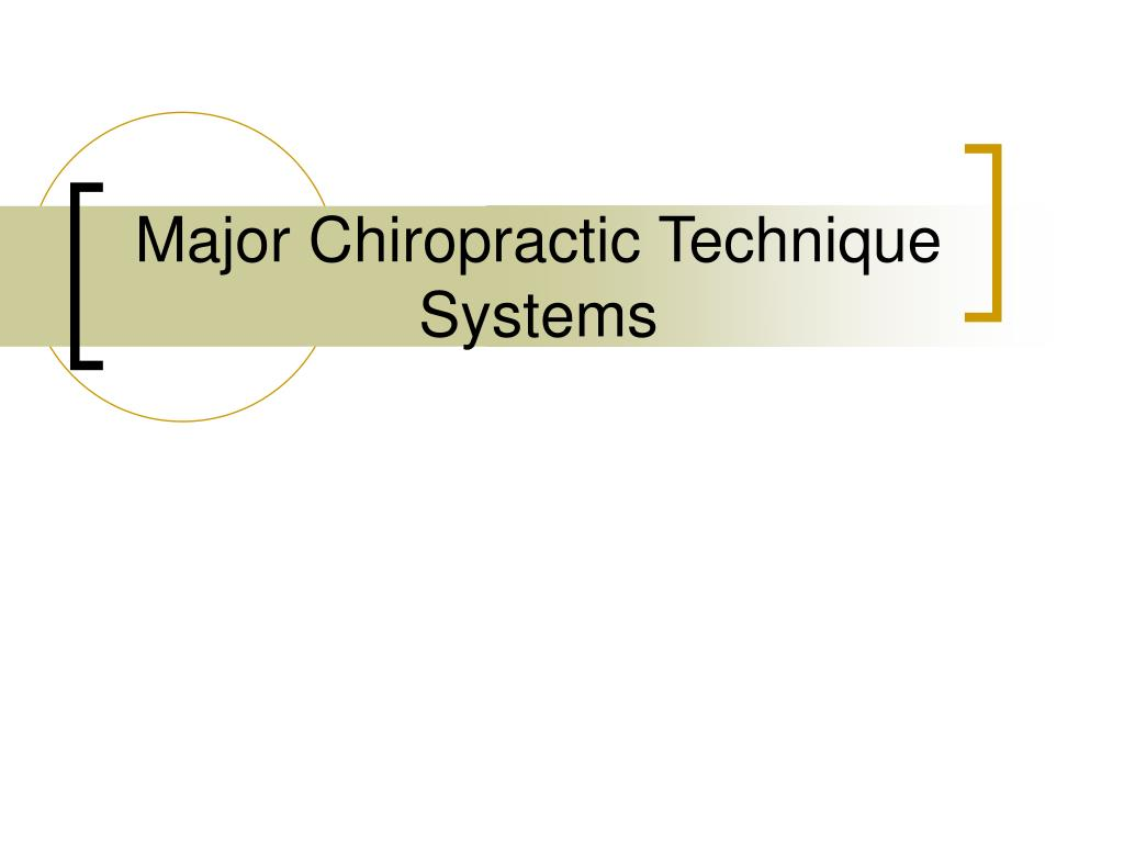 Major Chiropractic Technique Systems