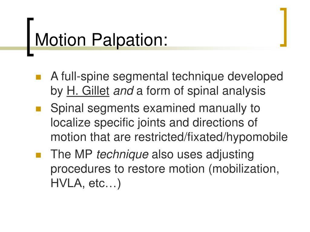 Motion Palpation:
