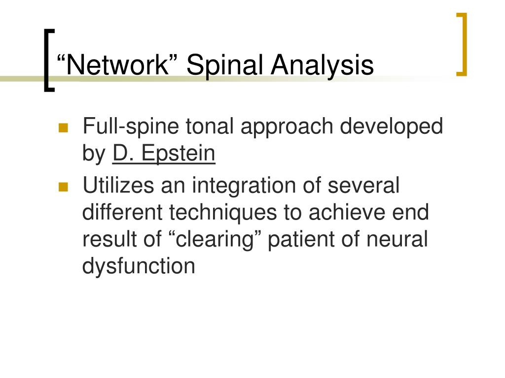 """Network"" Spinal Analysis"