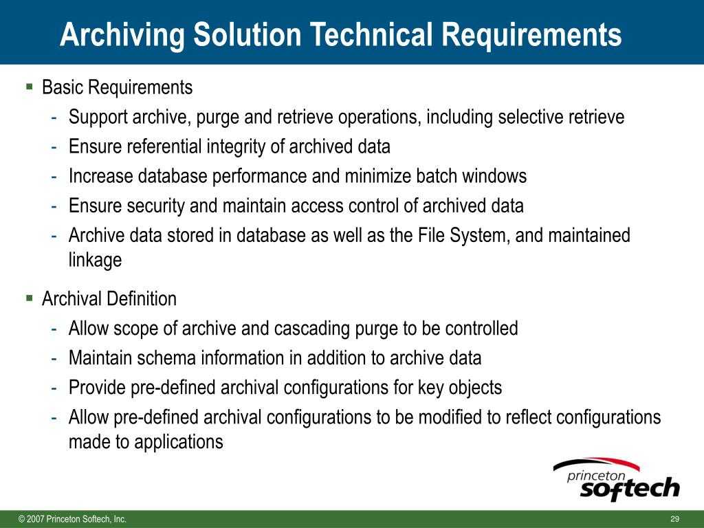 Archiving Solution Technical Requirements