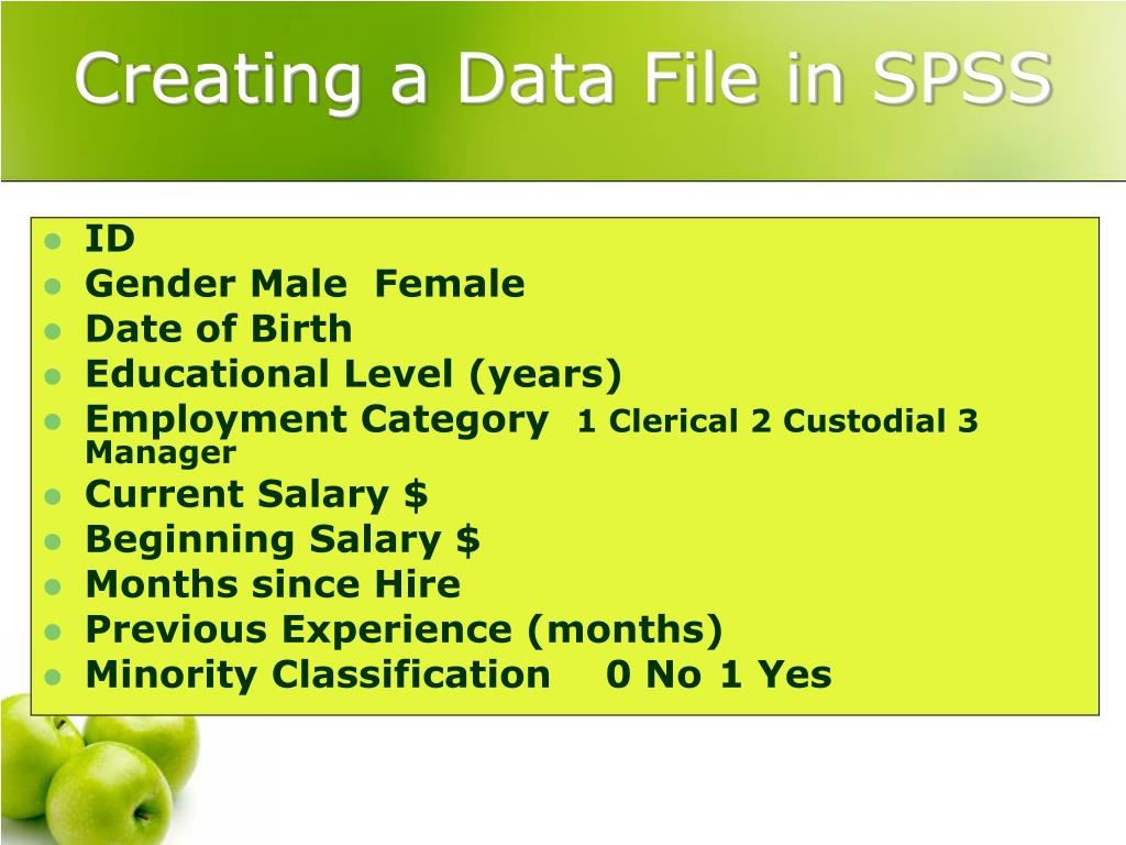 Creating a Data File in SPSS