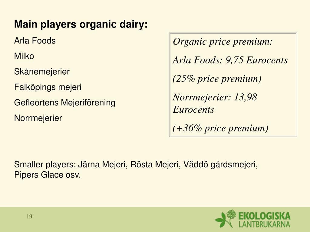 Main players organic dairy: