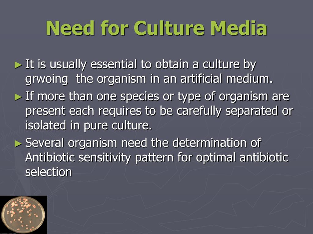 Need for Culture Media