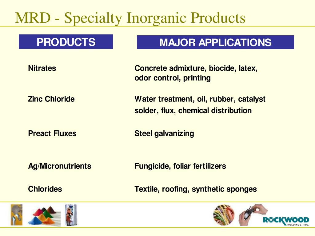 MRD - Specialty Inorganic Products