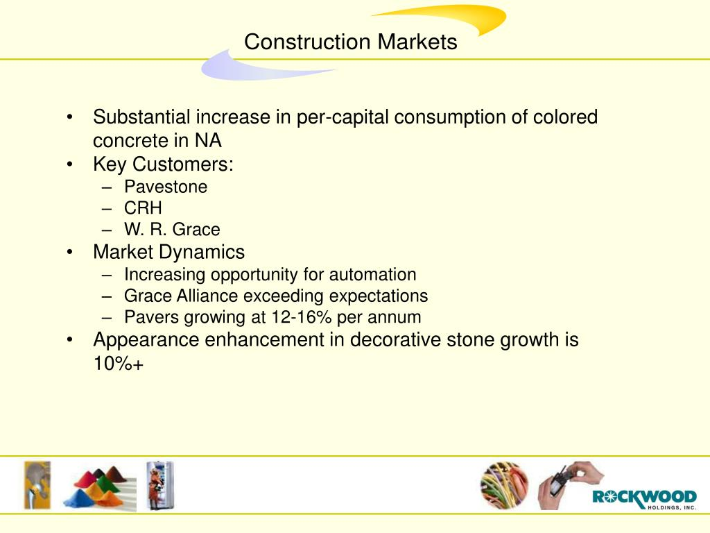Substantial increase in per-capital consumption of colored concrete in NA