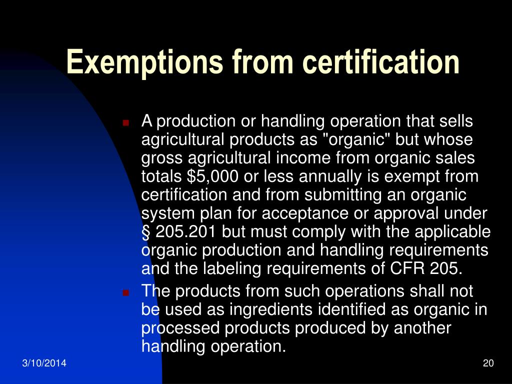 Exemptions from certification