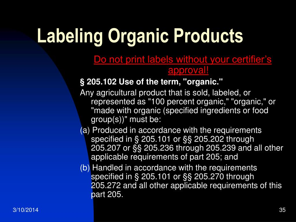 Labeling Organic Products