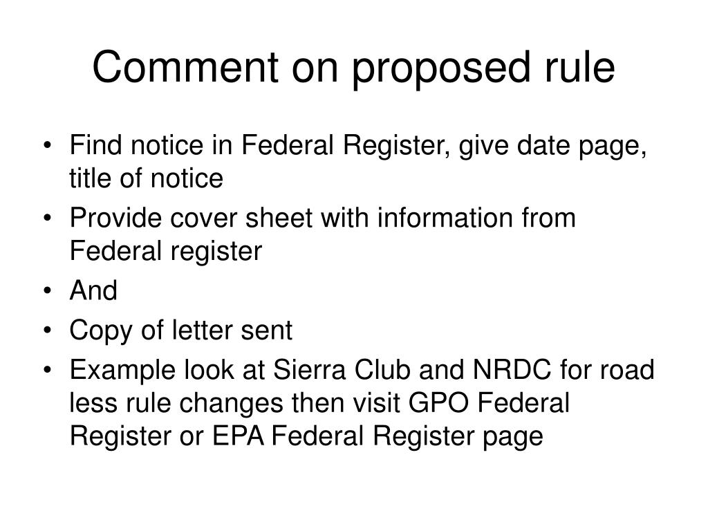 Comment on proposed rule