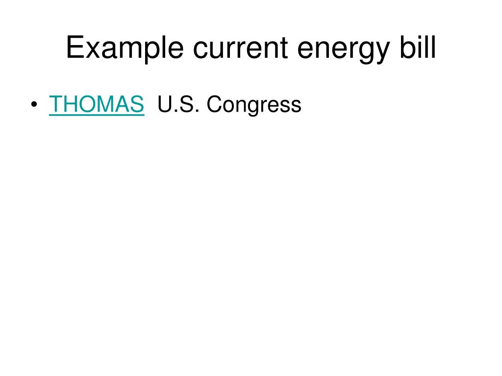 Example current energy bill