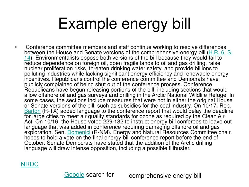 Example energy bill