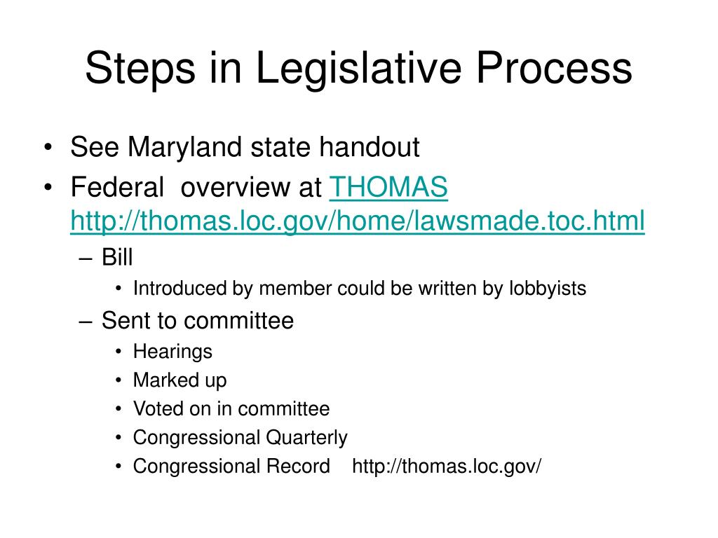 Steps in Legislative Process