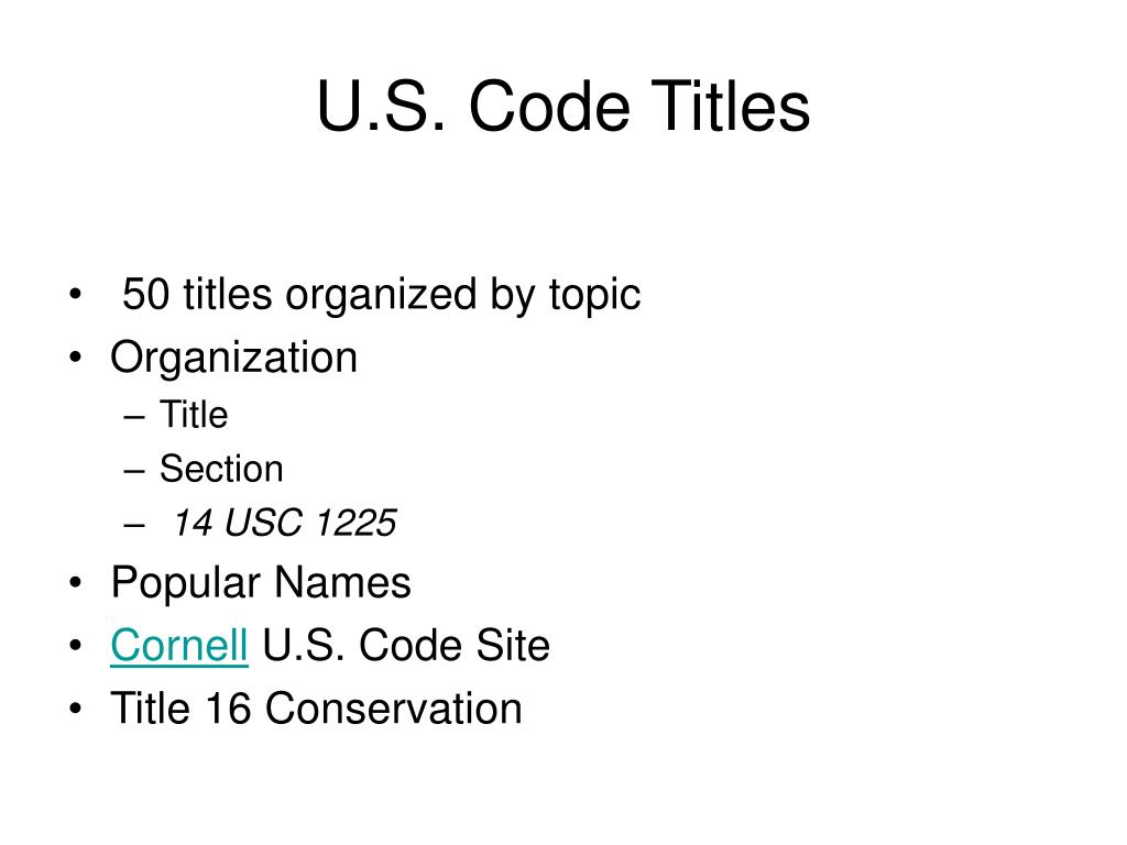 U.S. Code Titles