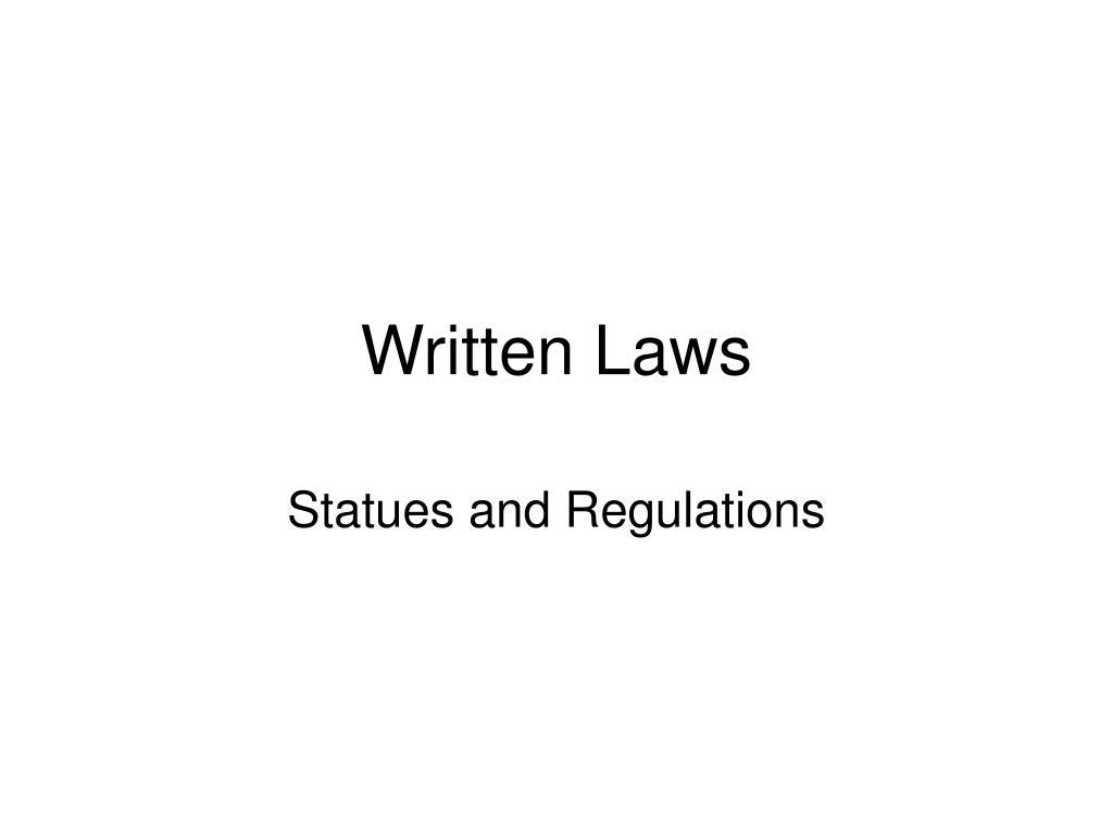 Written Laws