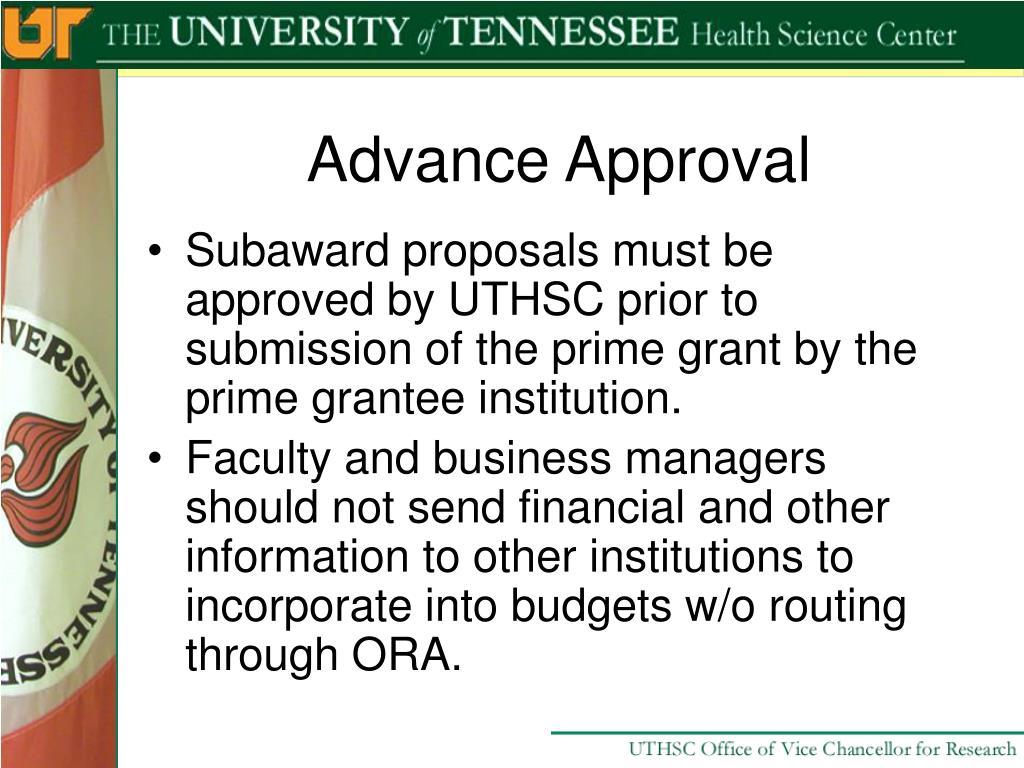 Advance Approval
