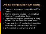 origins of organized youth sports