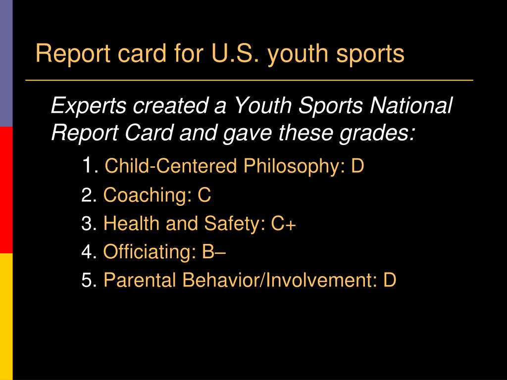 Report card for U.S. youth sports