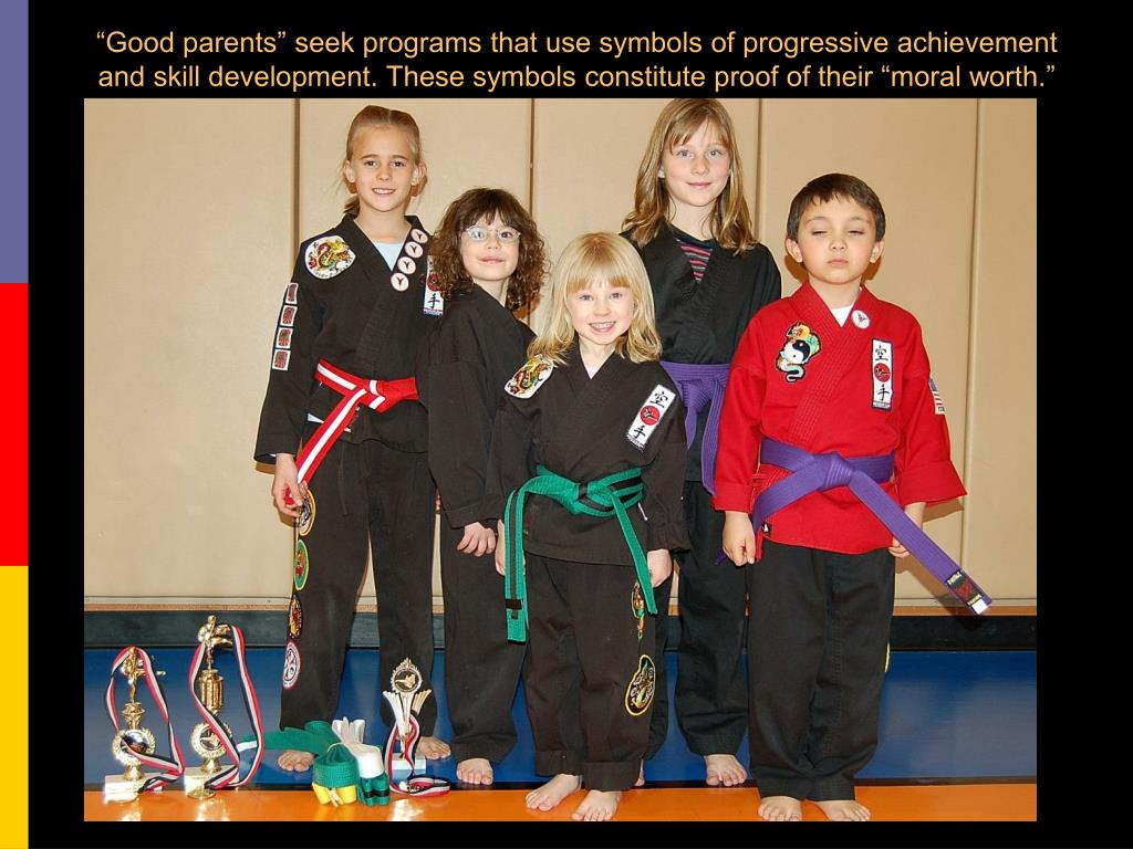 """Good parents"" seek programs that use symbols of progressive achievement and skill development. These symbols constitute proof of their ""moral worth."""