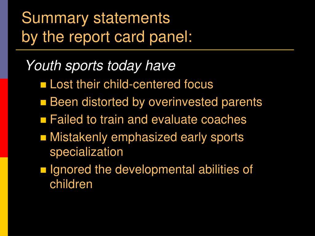 Summary statements