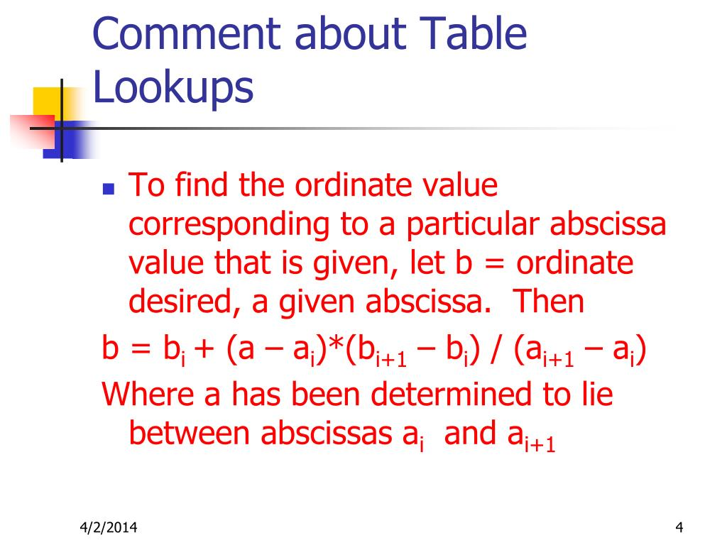 Comment about Table Lookups