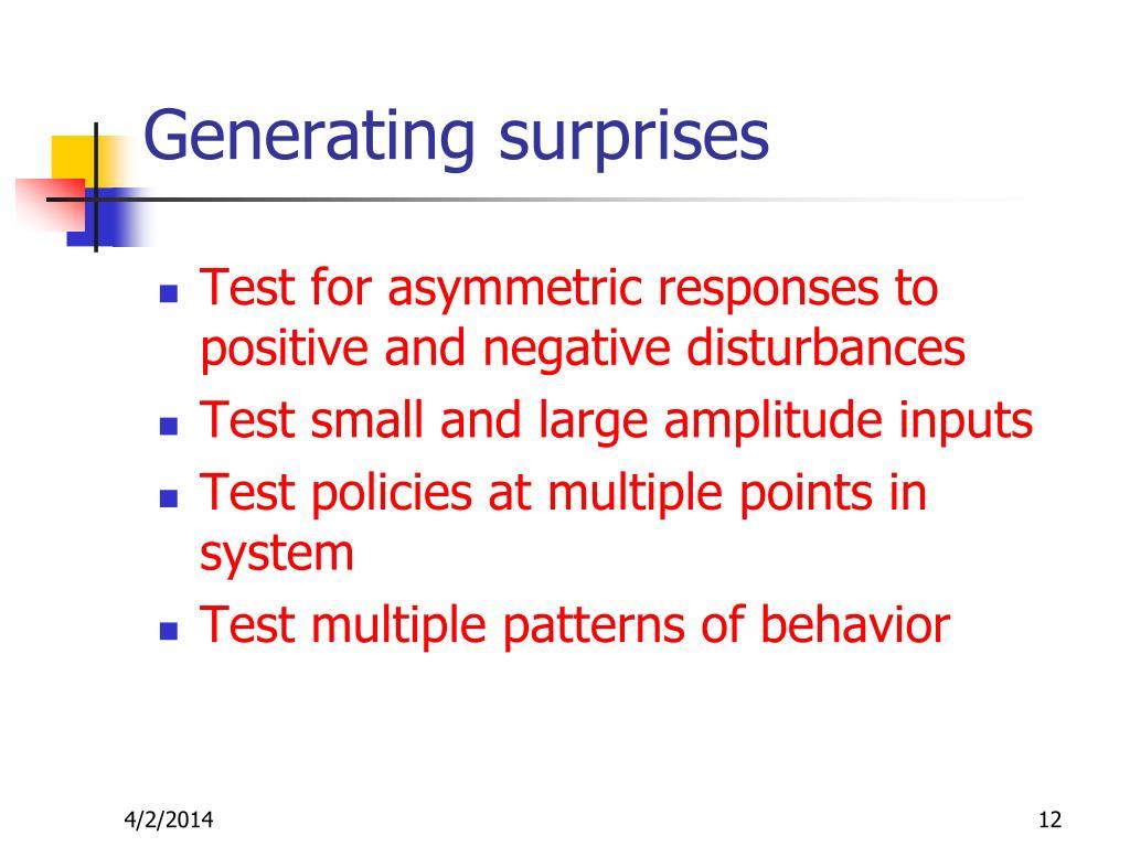 Generating surprises