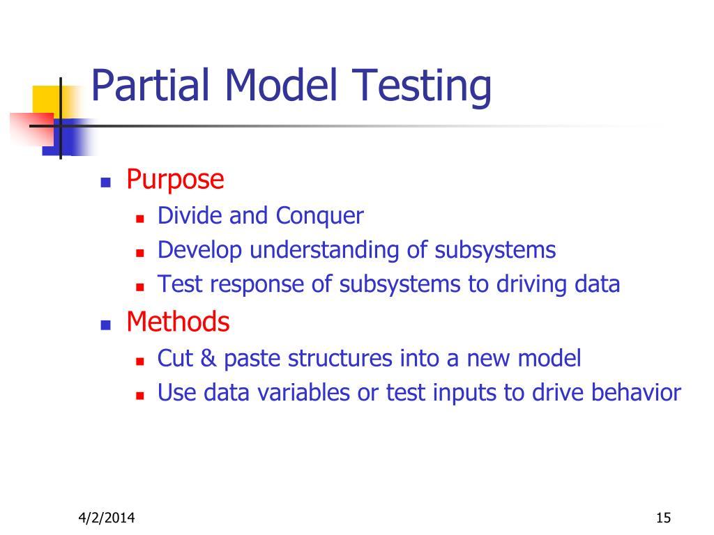 Partial Model Testing