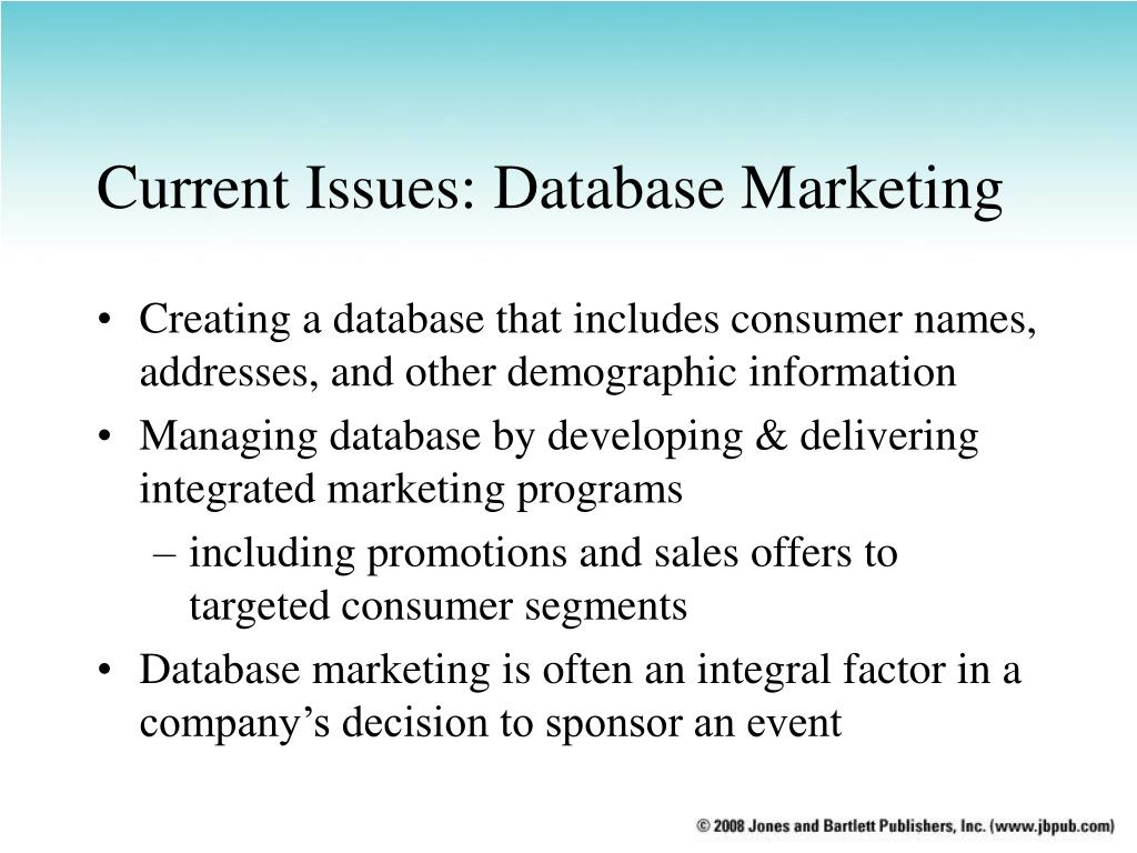 Current Issues: Database Marketing