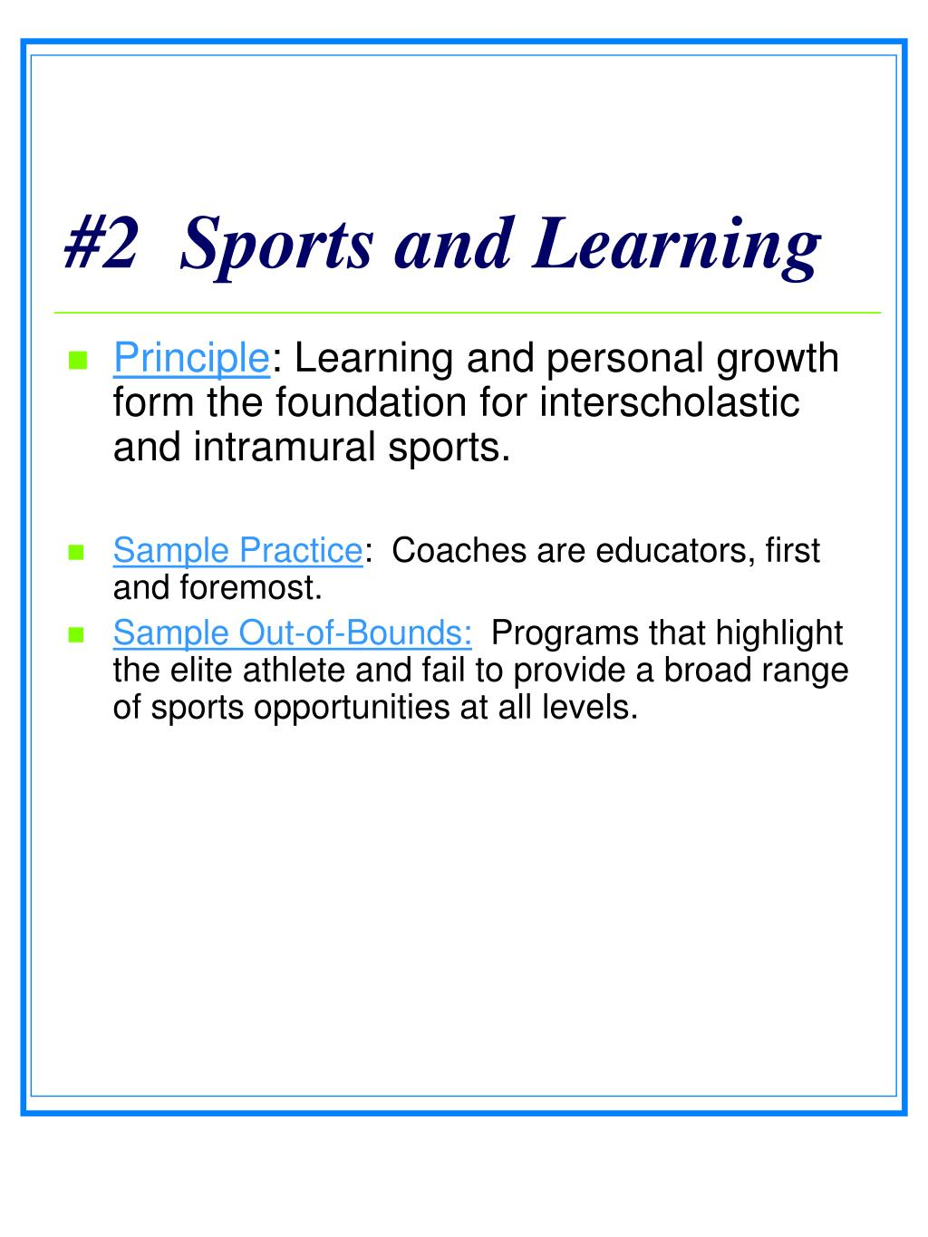 #2  Sports and Learning