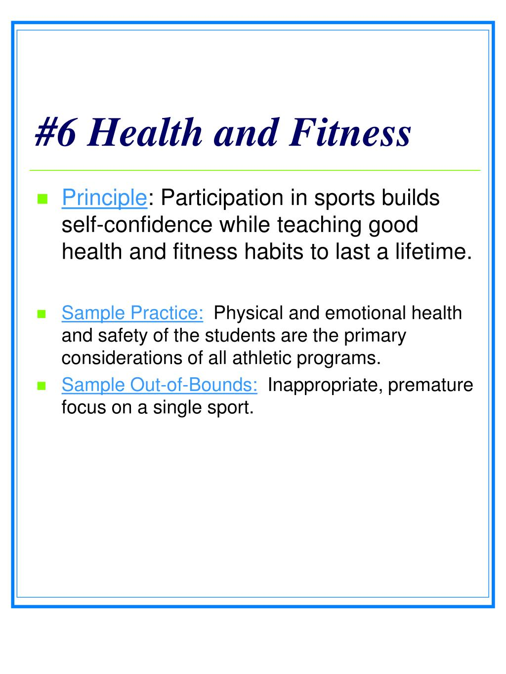 #6 Health and Fitness