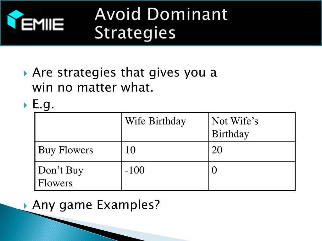 Avoid Dominant Strategies