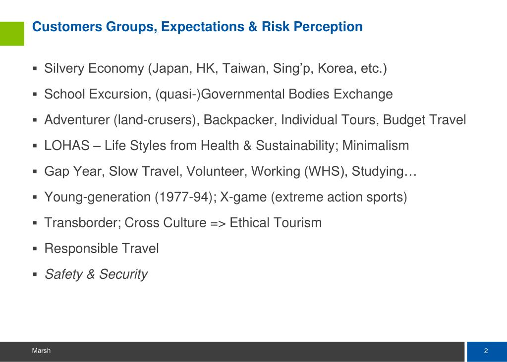 Customers Groups, Expectations & Risk Perception