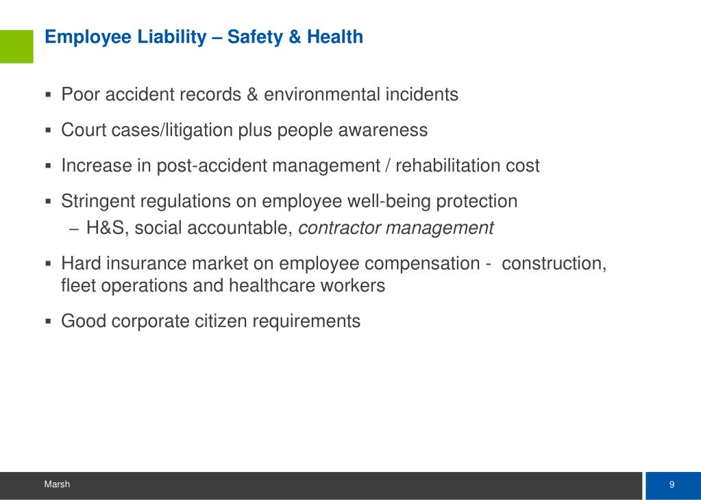 Employee Liability – Safety & Health