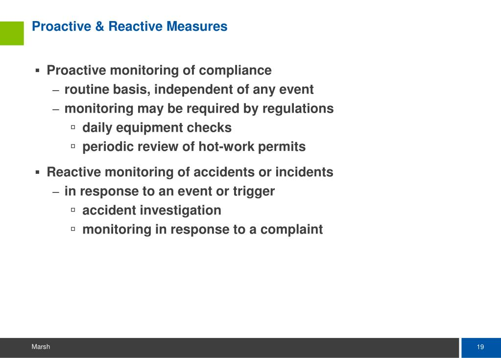 Proactive & Reactive Measures