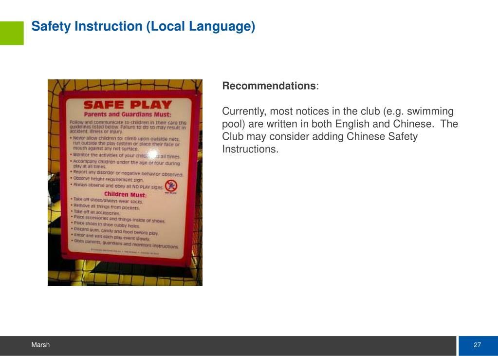 Safety Instruction (Local Language)