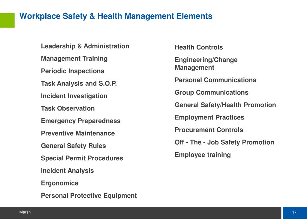Workplace Safety & Health Management Elements