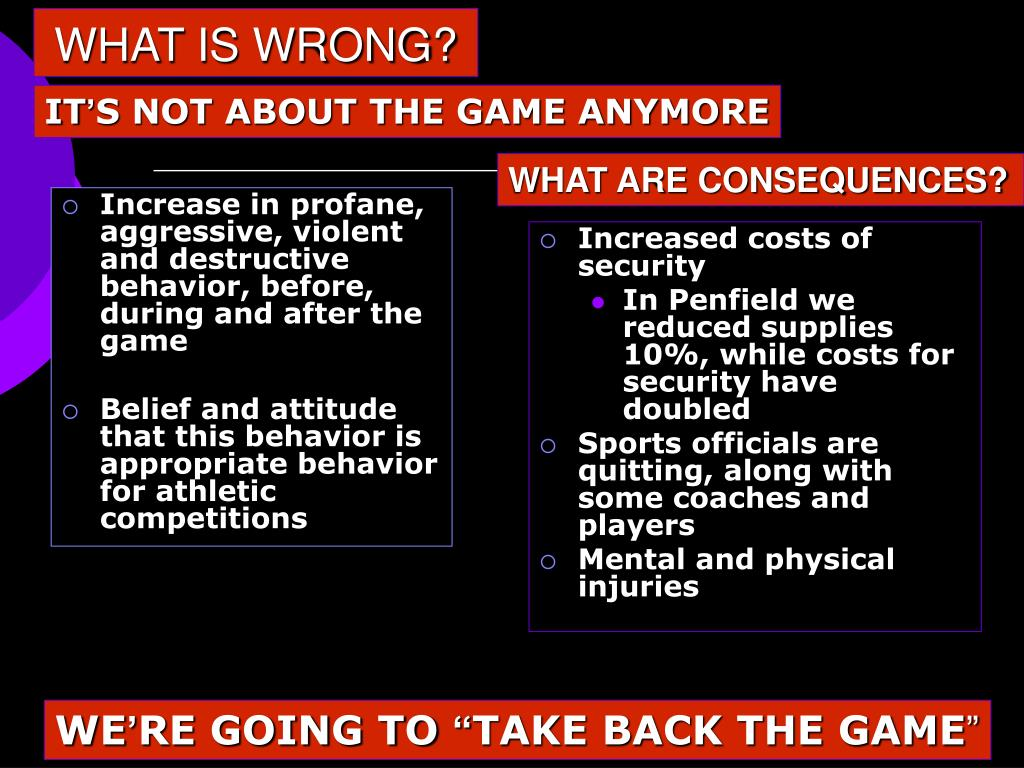 Increase in profane, aggressive, violent and destructive behavior, before, during and after the game