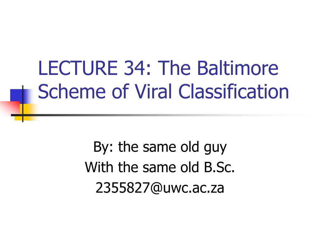 LECTURE 34: The Baltimore Scheme of Viral Classification