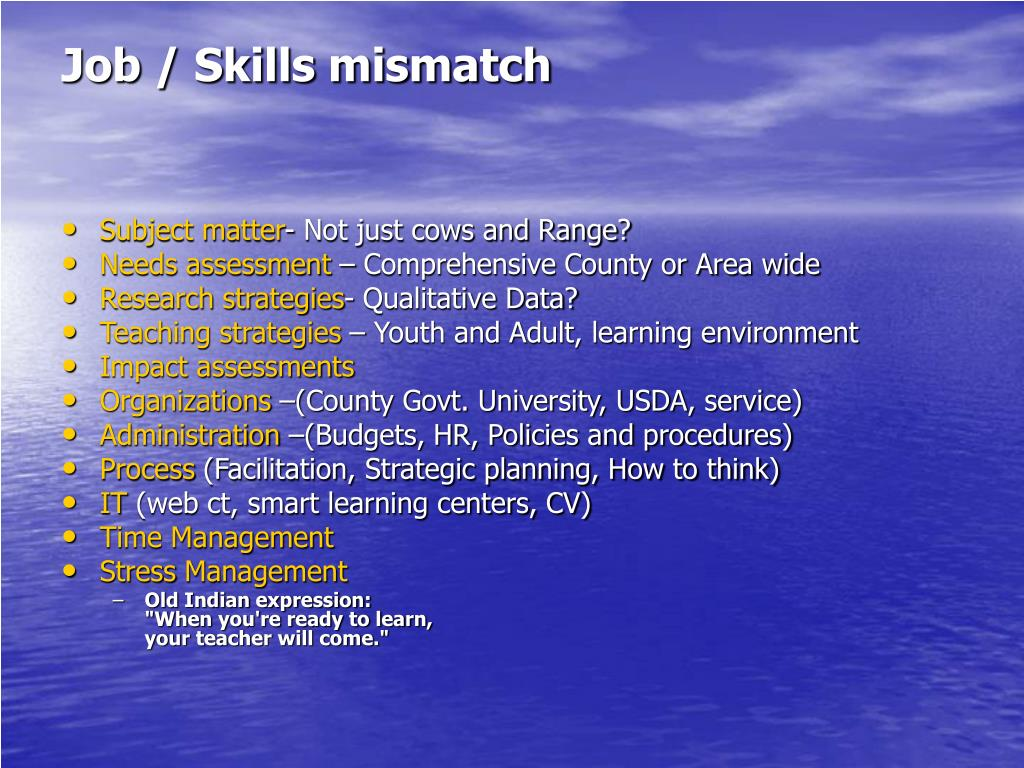 Job / Skills mismatch