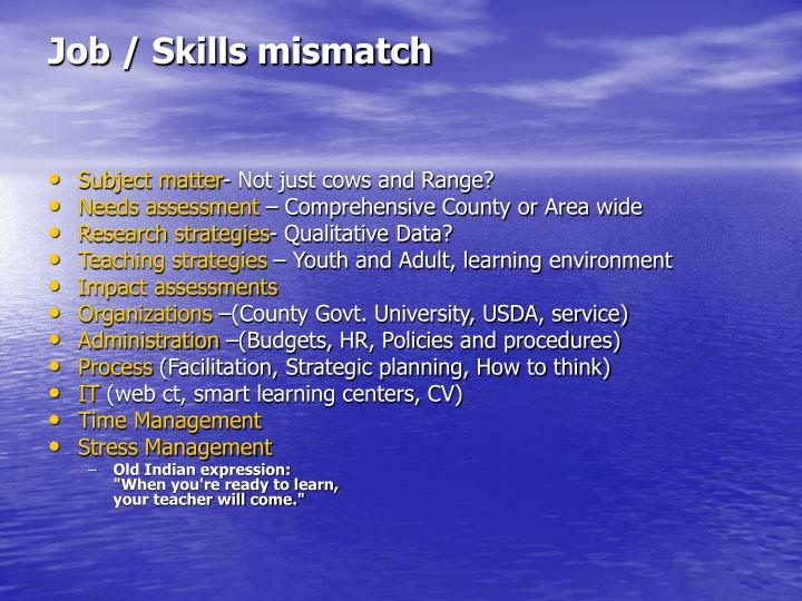 Job skills mismatch