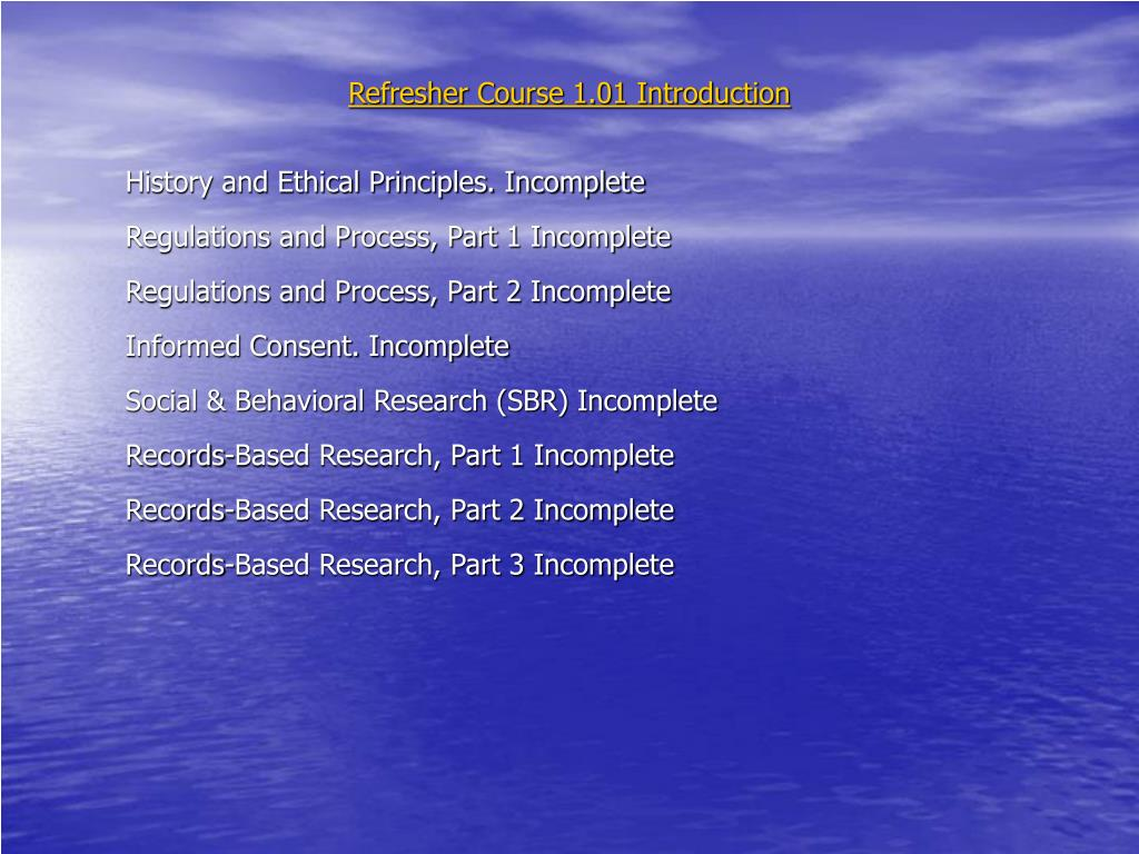 Refresher Course 1.01 Introduction
