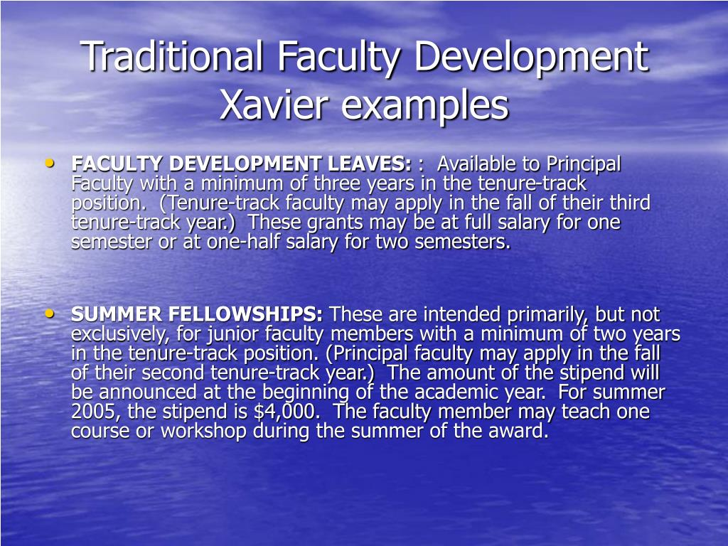Traditional Faculty Development Xavier examples