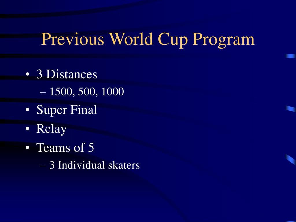 Previous World Cup Program
