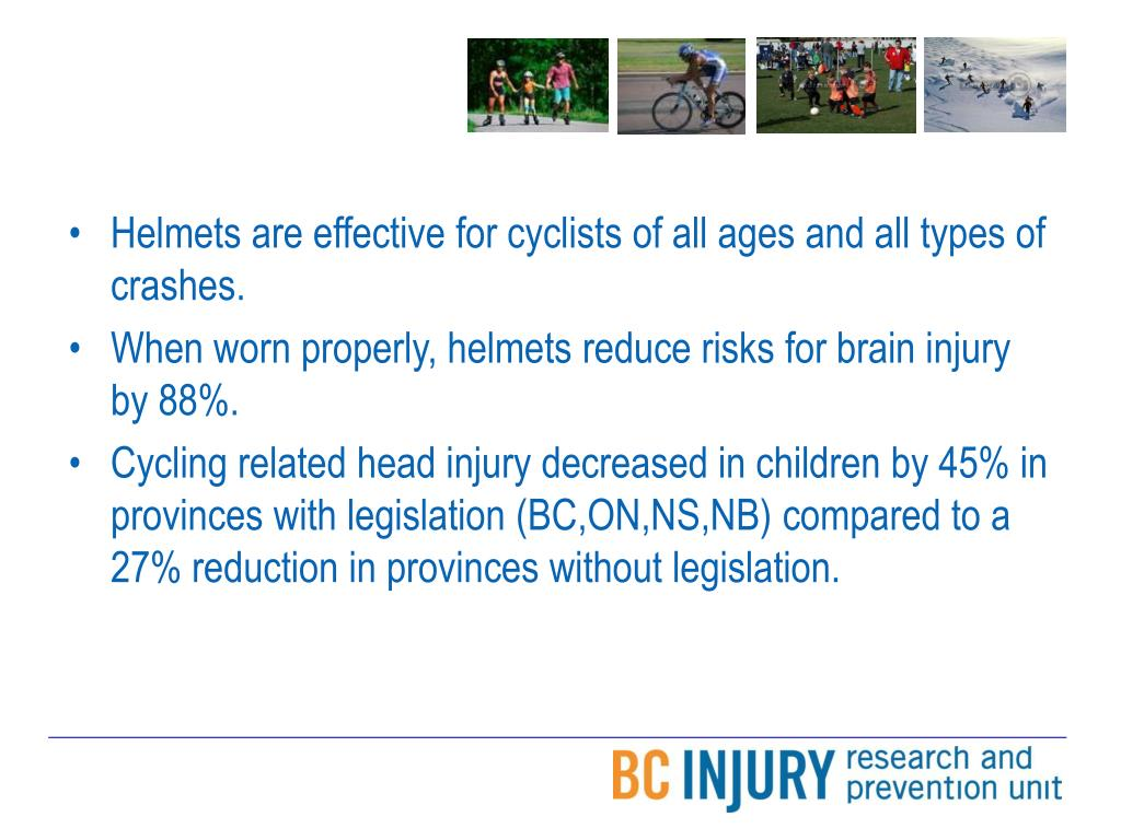 Helmets are effective for cyclists of all ages and all types of crashes.