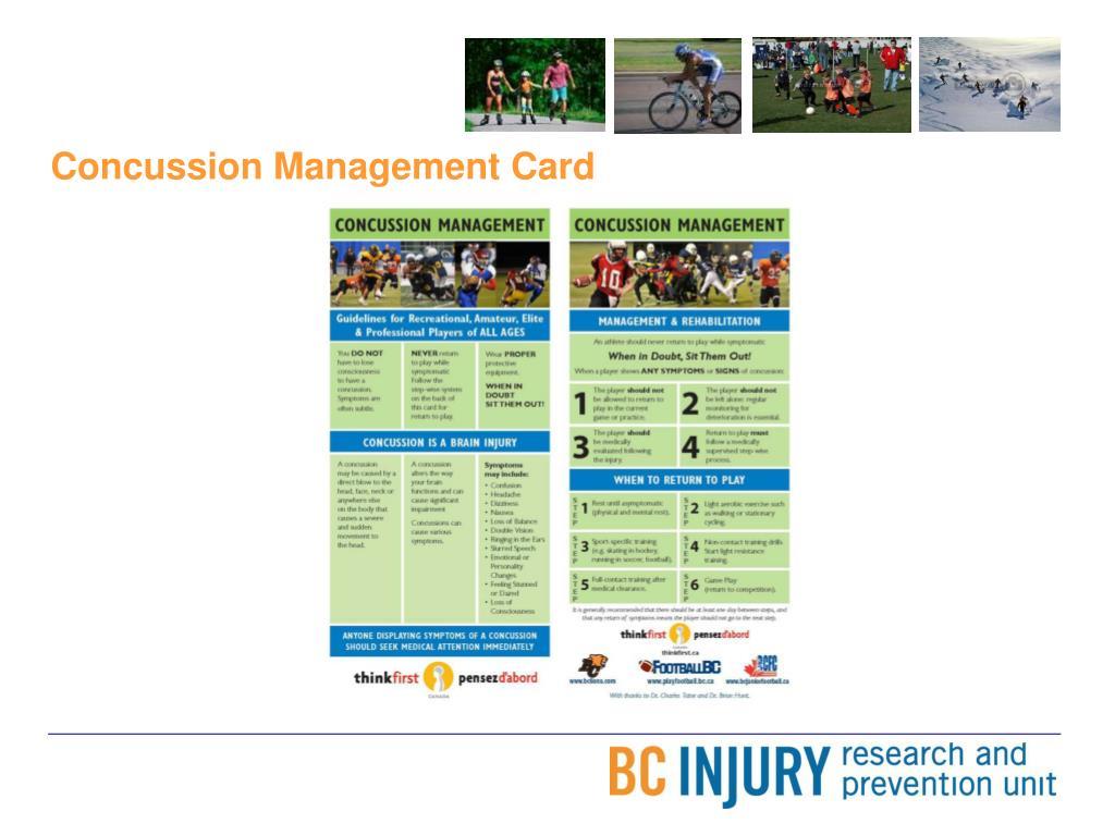 Concussion Management Card