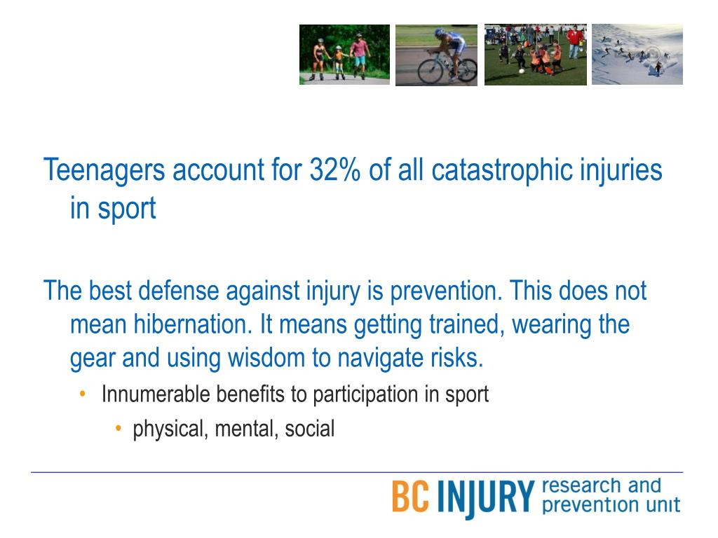 Teenagers account for 32% of all catastrophic injuries in sport