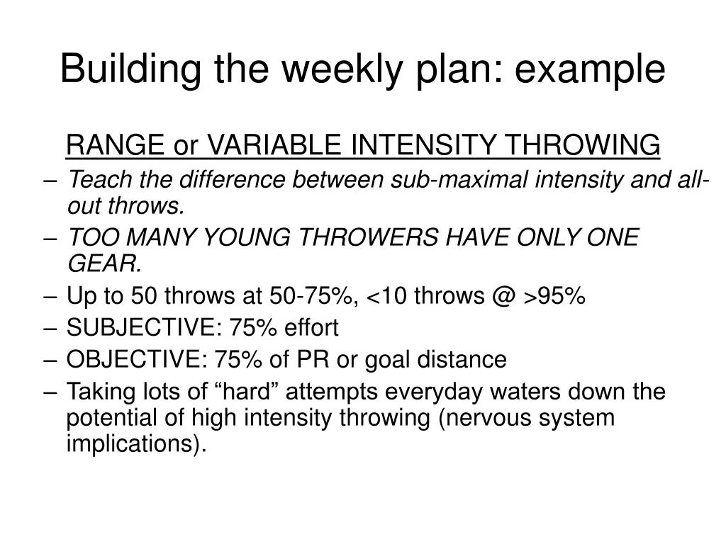 Building the weekly plan: example