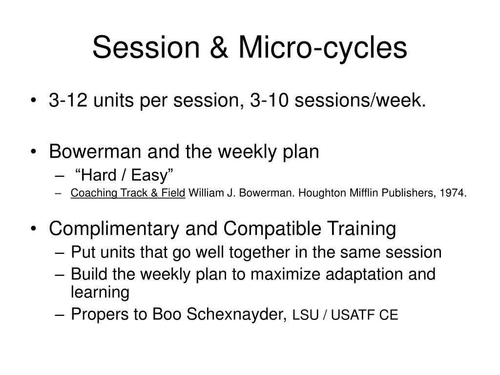 Session & Micro-cycles