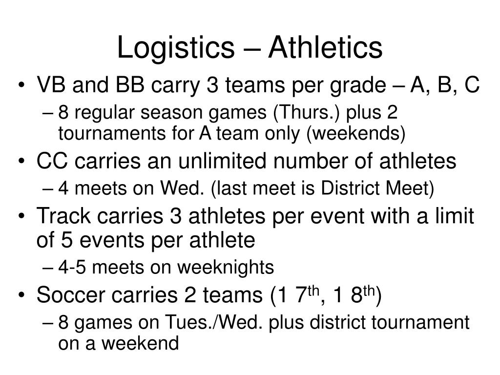 Logistics – Athletics