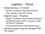 logistics tennis