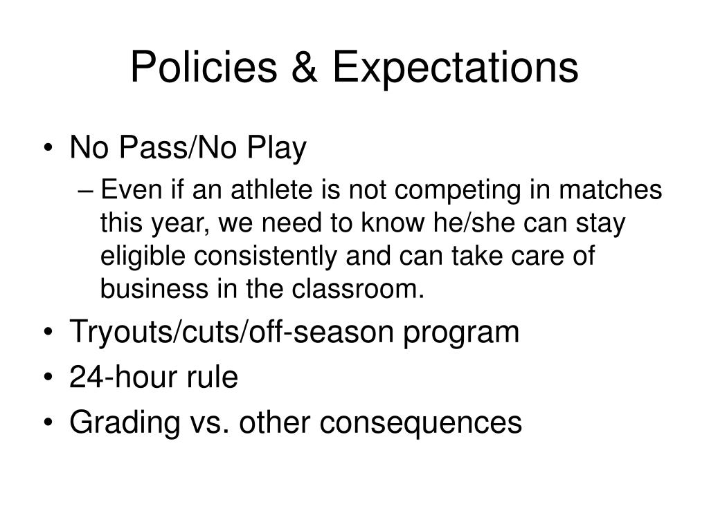 Policies & Expectations