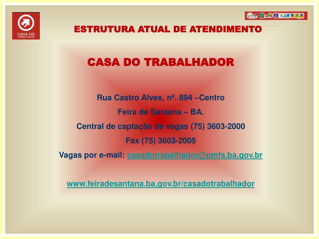 ESTRUTURA ATUAL DE ATENDIMENTO